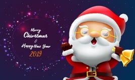 与圣诞老人的圣诞快乐和新年快乐卡片 库存例证