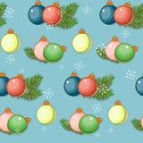 与圣诞老人的圣诞快乐和新年快乐无缝的在白色背景的样式和礼物 也corel凹道例证向量 库存图片