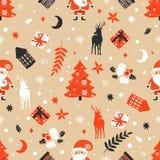与圣诞老人的圣诞快乐无缝的样式 免版税库存图片