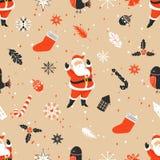 与圣诞老人的圣诞快乐无缝的样式 免版税图库摄影