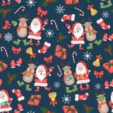 与圣诞老人的圣诞节无缝的样式,鹿和圣诞节充塞新年假日样式 皇族释放例证