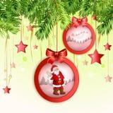 与圣诞老人的圣诞节球 免版税库存照片