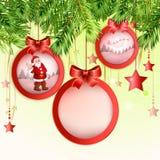 与圣诞老人的圣诞节球 库存照片