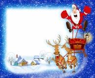 与圣诞老人的圣诞节背景 库存照片