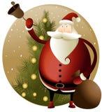 与圣诞老人的圣诞节背景 库存例证