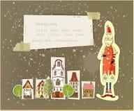 与圣诞老人的城市背景 免版税库存照片