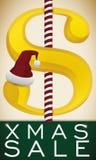 与圣诞老人的帽子和棒棒糖的金钱标志圣诞节的,传染媒介例证 向量例证
