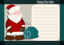 与圣诞老人的新年问候 库存照片