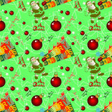 与圣诞老人的无缝的圣诞节背景 免版税图库摄影