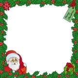 与圣诞老人的槲寄生框架 免版税库存图片