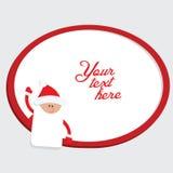 与圣诞老人的红色和白色圣诞节框架 免版税库存图片