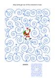 与圣诞老人的迷宫比赛在飞雪 库存图片