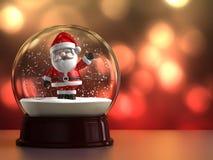 与圣诞老人的雪地球 库存图片