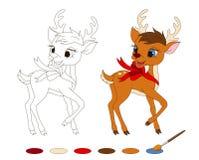 与圣诞老人的驯鹿的着色页 皇族释放例证