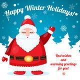 与圣诞老人的滑稽和逗人喜爱的圣诞卡 免版税图库摄影