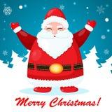 与圣诞老人的滑稽和逗人喜爱的圣诞卡 免版税库存照片