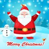 与圣诞老人的滑稽和逗人喜爱的圣诞卡 免版税库存图片