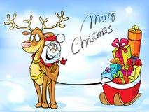 与圣诞老人的滑稽的圣诞节设计 图库摄影