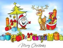 与圣诞老人的滑稽的圣诞节设计 库存照片