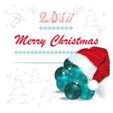 与圣诞老人盖帽和圣诞节球的圣诞快乐卡片 免版税库存照片