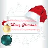 与圣诞老人盖帽和鸡的圣诞快乐卡片 图库摄影