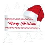 与圣诞老人盖帽的圣诞快乐卡片 库存照片