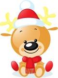 与圣诞老人盖帽-传染媒介的逗人喜爱的驯鹿 图库摄影