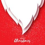 与圣诞老人胡子的圣诞快乐卡片在红色背景 图库摄影