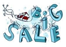 与圣诞老人雪橇的大冬天销售设计海报 图库摄影