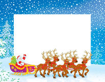 与圣诞老人雪橇的边界  免版税库存照片