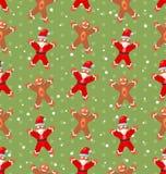 与圣诞老人雪的无缝的圣诞节样式 皇族释放例证