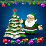 与圣诞老人项目和树的圣诞节问候 免版税库存图片