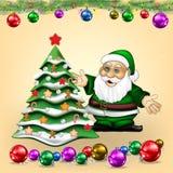 与圣诞老人项目和树的圣诞节问候 免版税图库摄影
