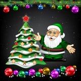 与圣诞老人项目和树的圣诞节问候 库存图片