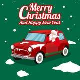 与圣诞老人项目的圣诞节横幅驾驶卡片装饰背景传染媒介 向量例证