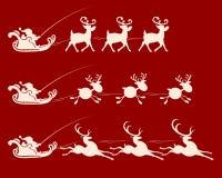 与圣诞老人驯鹿鞔具的,集合的圣诞节标志 图库摄影