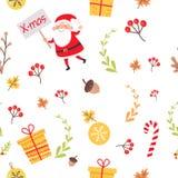 与圣诞老人,圣诞节装饰的无缝的样式 库存照片