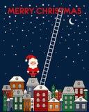 与圣诞老人,老镇,夜空,在蓝色背景的台阶的圣诞快乐卡片 免版税图库摄影