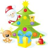 与圣诞老人, xmas树的圣诞节设计 库存图片