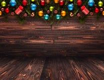 2017年与圣诞节中看不中用的物品的新年快乐季节性背景 库存照片