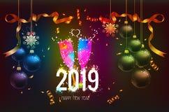 与圣诞节五彩纸屑金子的新年好2019年背景和黑颜色为文本系带 免版税库存图片
