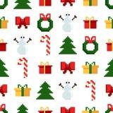 与圣诞节元素的五颜六色的映象点样式 Atcade比赛样式 库存例证