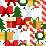 与圣诞节元素的五颜六色的映象点样式 Atcade比赛样式 皇族释放例证