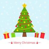 与圣诞节元素的斯诺伊冬天欢乐背景 免版税库存照片