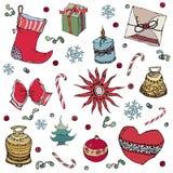与圣诞节元素的背景-球,响铃,袜子,圣诞树,雪花,星,心脏 也corel凹道例证向量 库存图片