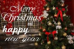 与圣诞节和新年好愿望结婚 库存图片