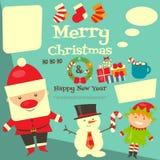与圣诞节字符的卡片 免版税库存照片