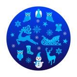 与圣诞节对象的蓝色圈子 免版税库存照片