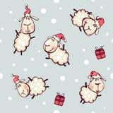 与圣诞节山羊的墙纸 图库摄影