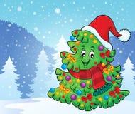 与圣诞节帽子题材4的树 免版税库存图片